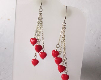 Red Heart Sterling Chain Dangle earrings, Perfect Valentines Gift, Opaque Red Hearts, Swingy and Colorful