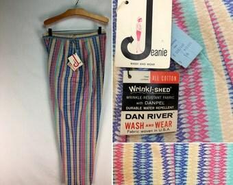 Vintage 60s High-Waist Tapered Leg Capri Slacks - Jeanie by Blue Bell // Pastel // 1960s // NOS // Pants // Deadstock // High-Rise
