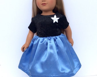 Blue and Black Doll Dress for 18 Inch Dolls, Party Dress, Christmas Dress, 18 Inch Doll Clothes, Girl Doll Clothes
