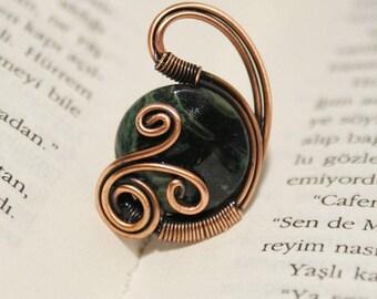 green jasper ring gemstone ring wire wrapped jewelry handmade copper wire jewelry wire wrapped ring handmade