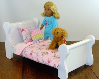 18 Inch Doll Furniture, American Made Doll Furniture, Doll Bed, Doll Furniture, Sleigh Bed