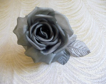 Gray Silk Millinery Rose for Hats Fascinators Dress Brooch Gown