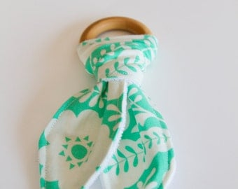 Natural Wood Teething Ring | Green with White Floral
