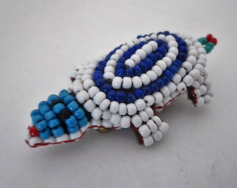Seed Beaded Turtle Love Hand Made Vintage Lapel Pin Collectible