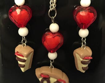 Chocolate Strawberry Cheesecake Handmade Polymer Clay Necklace and Earrings set
