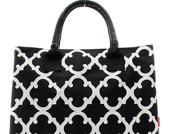 Personalized Black Quatrefoil Womens Tote Bag Large Black Monogrammed Purse
