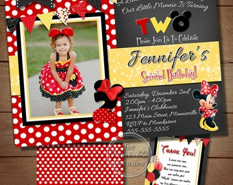 Red and Yellow Minnie Mouse Birthday Invitation, Red Minnie Mouse Invitation, Red Polka Dot Minnie Invitation Printable Invitation
