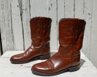 COWBOY BOOTS/Cowgirl Boots/Womens Cowboy Boots/Ropers/Brown Leather/Rodeo Riding Boots/JUSTIN/Womens Western Boots/Ranch Boots/Womens 8 N