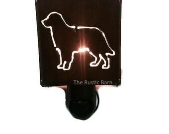 GOLDEN RETRIEVER dog nightlight night light made of Rustic Rusty Rusted Recycled Metal