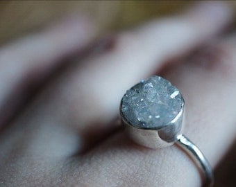 Fairy Cloud Sterling Silver Ring - Boho Rings - Druzy Ring - Metalwork Jewelry - Sterling Silver Gypsy Rings