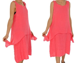 HW900KO dress layered look tunic Gr. L linen material mix oversize Gr. 40 42 44 portable coral