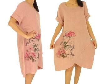 HV900RA ladies dress linen balloon dress oversize tunic vintage size M/L pink