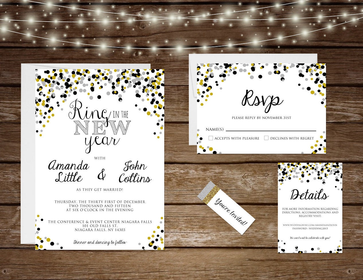 New Years Eve Wedding Invitation: Printable New Years Eve Wedding Invitation Set Ring In The