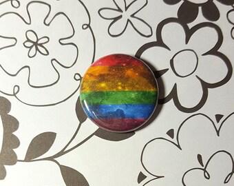 Galaxy Nebula Rainbow Flag LGBT Button or Magnet