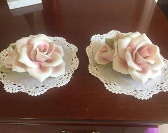 Vintage Capodimonte Porcelain Pink Rose
