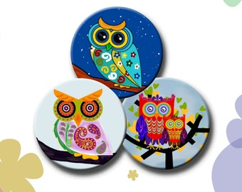 FUNKY OWLS  -  2.5 inch Digital Collage Sheet for Pocket Mirrors, Magnets, Paper Weights, Scrapbooking, Decoupage - Instant Download #245.
