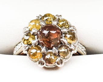 Estate Vintage Canary & Brownie Diamond Engagement Ring Circa 1975, 2.45ct