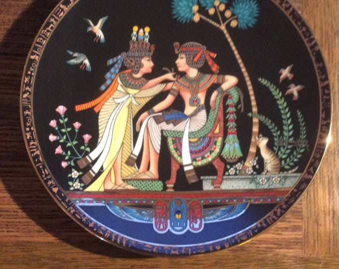 Adornments for the king collectors plate, fifth plate in the legend of Tutankhamun by Egyptian artist Nageh Nassif Bichay, collectors plate