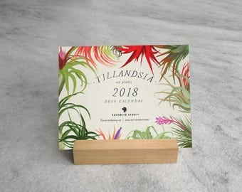 2018 Tillandsia Desk Calendar with Wood Stand, air plants, Botanical Illustrations