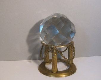 Old Faceted Crystal Ball Sphere w/Angle Brass Stand