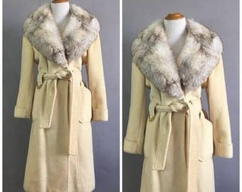 Vintage 1970s Rabbit Fur Peacoat White Cashmere Wool Belted Trench Coat Fur Collar Outerwear Winter Glam Fur Coat Boho Jacket Size Medium