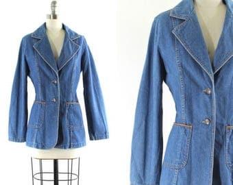 1970s denim jacket • vintage Sears denim jacket • denim blazer • 1970s jean jacket M