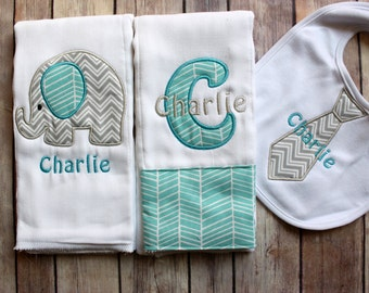 Baby Boy Elephant Burp Cloth Set, Monogrammed Baby Boy Elephant Burp Cloth Tie Bib, Personalized Baby Boy Gift, Chevron Elephant Baby Gift