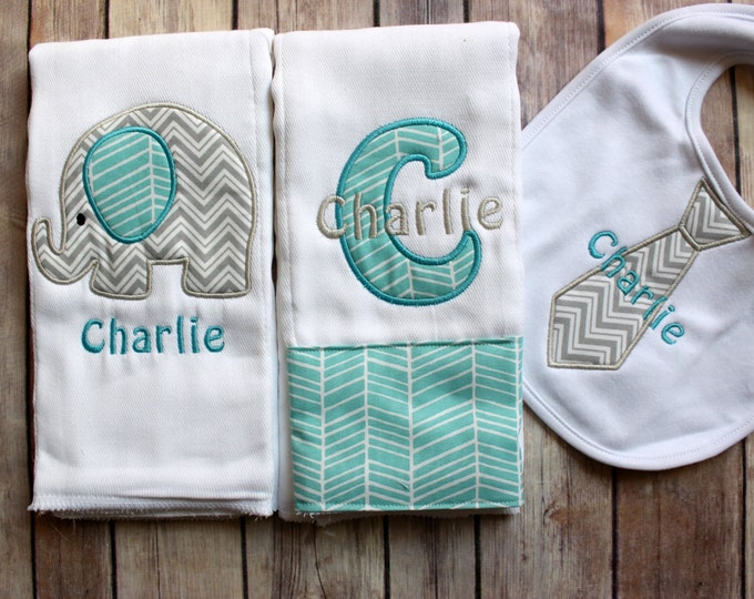Baby Boy Elephant Burp Cloth Set, Monogrammed Baby Boy Elephant Burp Cloth Tie Bib, Personalized Baby Boy Gift, Chevron Elephant Baby Gift