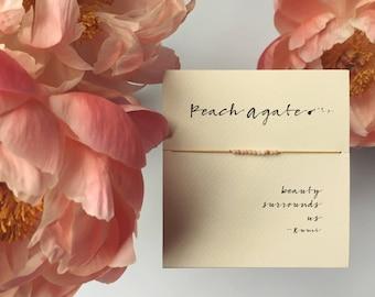 Friendship Bracelet - Peach agate Friendship Bracelet on Silk - Mustard