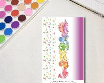 Rainbow Dinosaurs - Strips Whimsical Watercolor Planner Sticker Sheets, The Ones with Rainbow Dinosaurs Collection