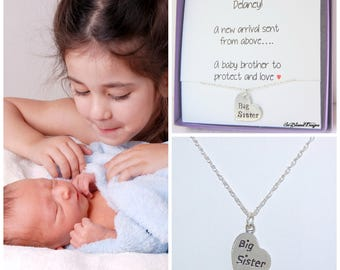 Necklace for BIG SISTER, for big sister, Girls Necklace, Sister Gift, Sterling Silver, Hand Stamped Necklace, Children's Jewelry