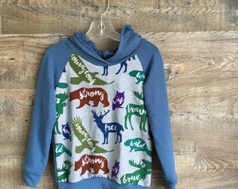 Slate Blue Hoodie with Wild Animal Print on Front