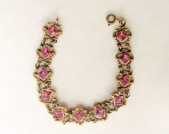 "Gold metal w pink glass stones bracelet. gf Art Deco, Art Nouveau 1920s 1930s Downton Gatsby flapper Paste Rhinestone Jewelry 7.5"" LA eb"