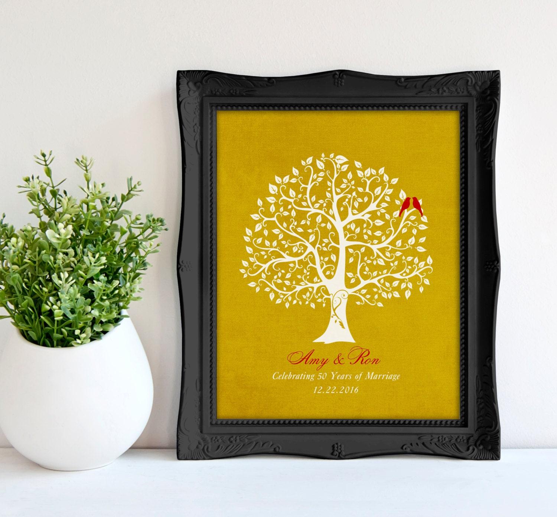 Unique Golden Wedding Anniversary Gifts: Personalized 50th Golden Wedding Anniversary Tree Gift