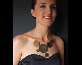 Contemporary Jewelry Circle Statement Necklace Handmade in golden and brown, wedding, elegant, sophisticated gift