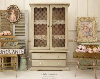 Countryside cabinet, Miniature furniture, Gustavian gray, Mesh doors, Functional drawers, French dollhouse, Scale 1/12