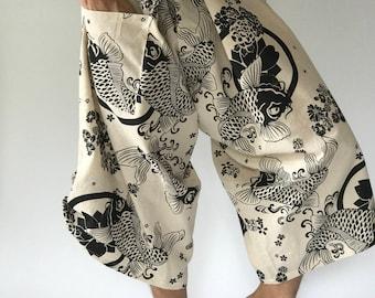 SR0005 Samurai pants with Unique Hilltribe fabric Wrap Around (M/L size)