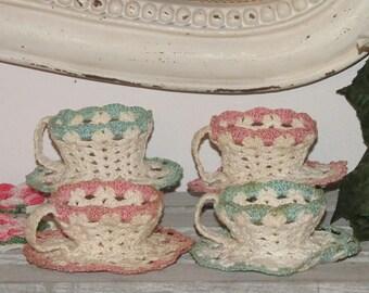 SALE! Vintage Set of 4 Crochet teacups