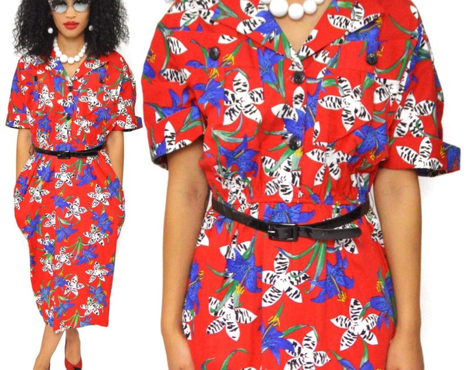 Vintage 80s Kay Brandon for H&A Secretary Floral Casual Half-Shirt Sheath Dress with Belt