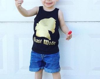 BEAST MODE  boys kids mens baby Tank Top T Shirt Raglan w/ Gold print