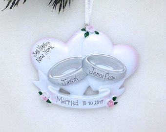 FREE SHIPPING Wedding Rings Personalized Christmas Ornament / Wedding Ornament / Personalized Ornament / First Christmas Married