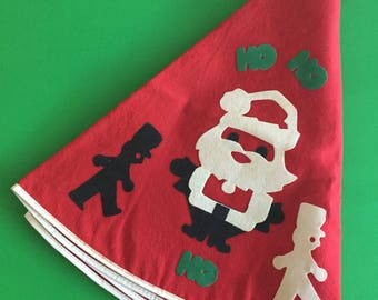 Vintage Red Christmas Tree Skirt with Flocked Santa Claus and Toy Soldiers- Ho Ho Ho!
