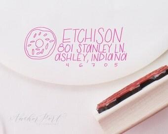 Donut hand lettered address stamp   wedding gift   housewarming   stationery