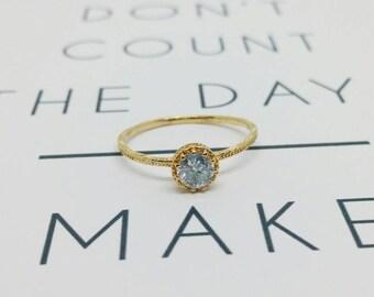 Zircon gold ring, Thin round zircon ring, Transparent zircon ring, Thin gold ring, Delicate gold filled ring, Round transparent zircon ring