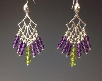 Amethyst earrings - Peridot Earrings - Peridot Jewelry - Purple earrings - Amethyst Jewelry  - birthstone Jewelry - Parrot