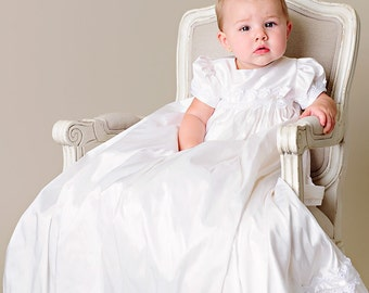 Mariana Silk Christening Gown or Blessing Dress for Baby Girls SIZE 3 MONTHS