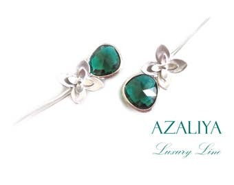 Lilly Chandeliers. Silver Lilies & Emerald. Silver Orchid Earrings. Azaliya Luxury Line. Wedding. Bridal earrings, Bridesmaids Gift.