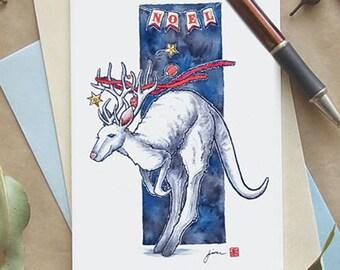 Rein-roo Christmas card; Australian kangaroo greeting card