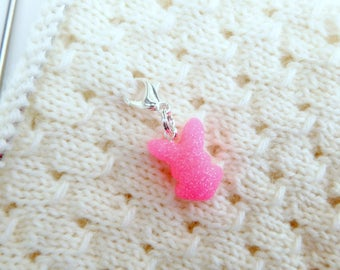 Sour Gummy Bunny Candy Charm - Stitch Marker - Progress Keeper - Zipper Pull - Planner Charm - Ready to Ship
