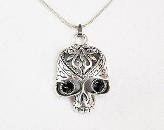 Silver Metal Day of the Dead Dia de los Muertos Sugar Skull Pendant with Swarovski Eyes + Stainless Steel Necklace Snake Chain